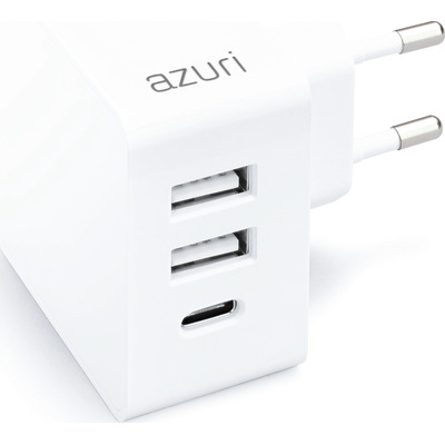 Azuri Home charger with 2xUSB A port, 1xUSB-C port – 4.8A - wit Oplader
