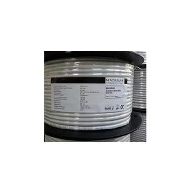 Maximum Coax cable RG6 1.02/4.57/6.6mm CU Tri-shield AL/128x0.12AL/AL coax kabel - Wit