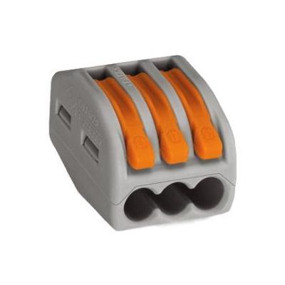 Wago 3-conductor, 4.153g, gray Elektrische aansluitklem - Grijs