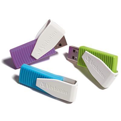 Verbatim Store'n'Go Swivel USB flash drive - Blauw, Groen, Violet, Wit