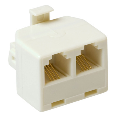 ACT RJ Modular T-adapters 2x female/1x male Kabel adapter - Wit