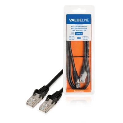 Valueline FTP CAT6 RJ45 mannelijk - RJ45 mannelijk 1.00 m zwart Netwerkkabel