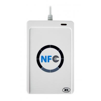 Acs smart kaart lezer: USB 2.0 NFC Reader, Mifare, FeliCa, NFC (ISO/IEC18092) - Wit