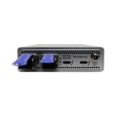 Atto 40Gb/s Thunderbolt 3 (2-port) - 10GbE (2-Port) ( includes SFPs ) Interfaceadapter - Metallic