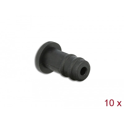DeLOCK Dust Cover for 3.5 mm stereo jack female 10 pieces, black - Zwart