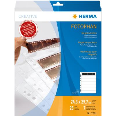 Herma archieveerblad voor negatieven: Negative pockets transparent for 7 x 5 negative stripes 25 pcs. - Transparant