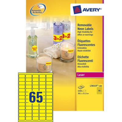 Avery 38.1 x 21.2 mm, 6500 pcs, A4, neon geel Etiket