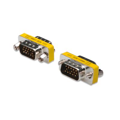 Digitus Gender Changer, HD-Sub15 metal housing, M/M, with Hex screws Kabel adapter - Zwart,Metallic,Geel