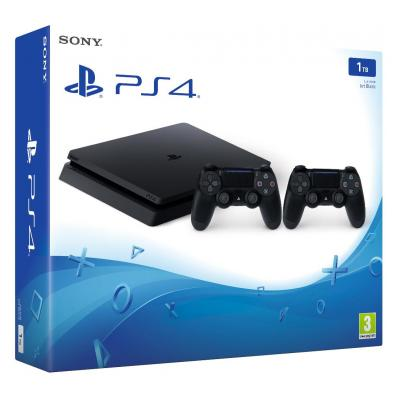 Sony spelcomputer: PlayStation 4 Slim 1TB + 2 Dualshock 4 V2 - Zwart