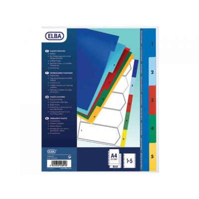 Elba indextab: tabblad bedrukt 1-10 A4 11-gaats 120mµ assortie ST
