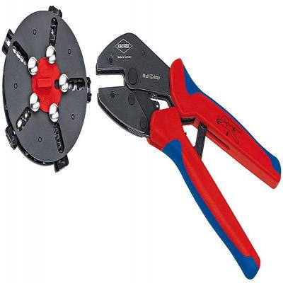 Knipex tang: Krimptang met wissellader en 5 krimpprofielen - Blauw, Rood