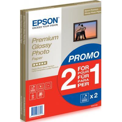 Epson fotopapier: Premium Glossy Photo Paper 2 voor de prijs van 1, DIN A4, 255g/m², 30 Vel