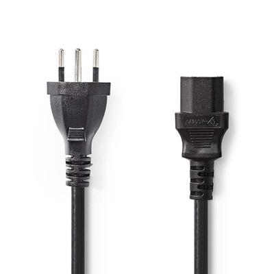 Nedis Voedingskabel, Stekker Type J (CH) - IEC-320-C13, 2,0 m, Zwart Electriciteitssnoer