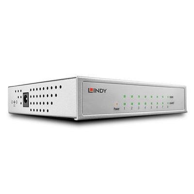 Lindy Network - Gigabit, Desktop, 8 Port, 10/100/1000 Switch - Zilver