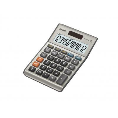 Casio 12-Digit Mini Desk, Solar + Battery, Extra Large display Calculator - Grijs