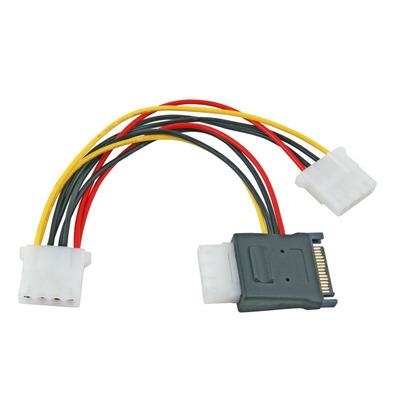 "EFB Elektronik SATA Power Cable, SATA+5,25"" to 2x 5,25"", M+F-2x F,0,15m - Zwart,Rood,Geel"
