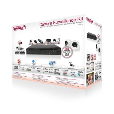 Eminent video toezicht kit: Camera Surveillance Kit met Recorder en 2 Mini Dome Camera's