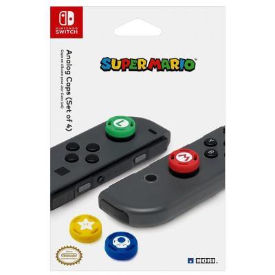 Hori spel accessoire: Super Mario Analog Caps, Nintendo Switch - Blauw, Groen, Rood, Geel