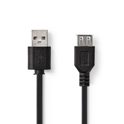 Nedis USB 2.0-Kabel, A Male - A Female, 2,0 m, Zwart USB kabel