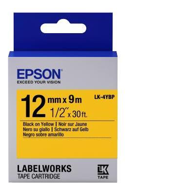 Epson labelprinter tape: Label Cartridge Pastel Black/Yellow 12mm (9m)