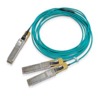 Mellanox Technologies QSFP56/2xQSFP56, Male, 200 Gbit/s, 15m,Aqua Fiber optic kabel - Aqua-kleur