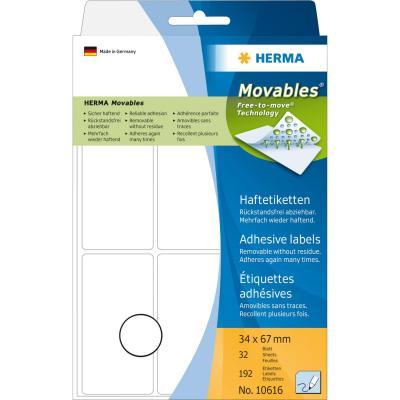 Herma etiket: Multi-purpose labels 34x67 mm white Movables/removable paper matt 192 pcs - Wit