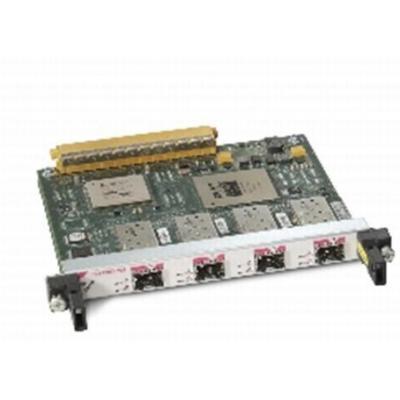 Cisco netwerkkaart: 4-Port OC-3c/STM-1c POS Shared Port Adapter - Zwart, Groen, Roestvrijstaal (Open Box)