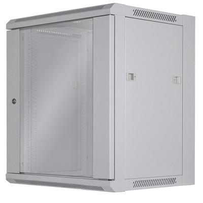 """Intellinet 19"""" Wallmount Cabinet, 12U, 635 (h) x 570 (w) x 450 (d) mm, Max 60kg, Flatpack, Grey Rack - Grijs"""