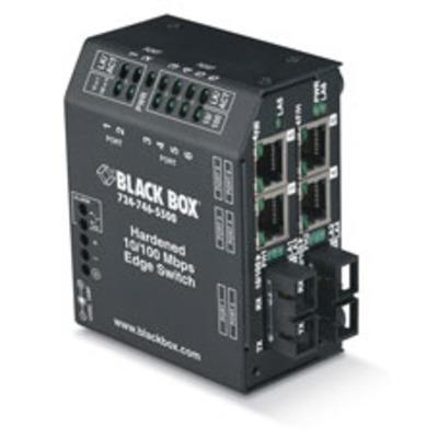 Black Box Hardened Heavy-Duty Edge, 4 x 10/100 RJ-45, 2 x SC, Multimode, 100–240-VAC w/ IEC Switch - Zwart