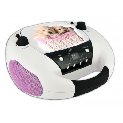 Bigben interactive CD-radio: Portable radio / CD speler met hondjes - Zwart, Roze, Wit