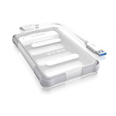Icy box behuizing: 2.5'' SATA HDD/SSD, USB 3.0, 5 Gbps - Transparant, Wit