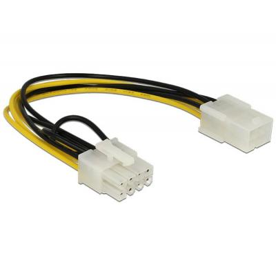 Delock electriciteitssnoer: Power Cable PCI Express 6 pin female > 8 pin male - Zwart, Wit, Geel
