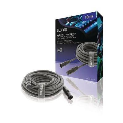 Sweex XLR Digital Cable, XLR 5-Pin Male - XLR 5-Pin Female, 10.0 m, Dark Grey - Zwart