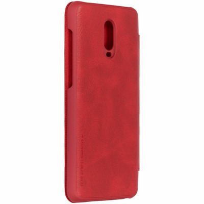 Qin Leather Slim Booktype OnePlus 6T - Rood / Red Mobile phone case