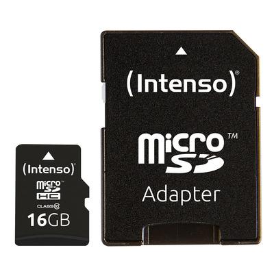 Intenso 16GB MicroSDHC Flashgeheugen - Zwart