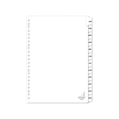 Kangaro indextab: tabblad A4 letters karton 190grs wit 23-gaats 12-delig maanden