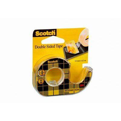 3M Double Sided Tape Dispenser with 1 roll 12mm x 6. Tape afroller - Zwart, Geel