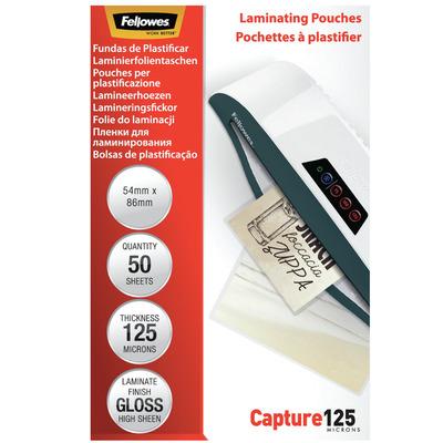 Fellowes 125 micron lamineerhoes glanzend - 54x86mm Laminatorhoes - Transparant
