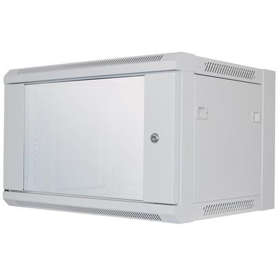 """Intellinet 19"""" Wallmount Cabinet, 6U, 370 (h) x 570 (w) x 450 (d) mm, Max 60kg, Flatpack, Grey Rack - Grijs"""