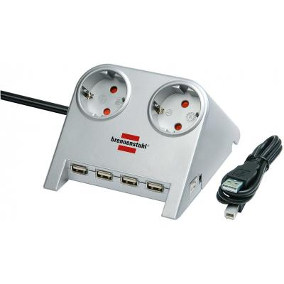 Brennenstuhl hub: Desktop-Power-Plus met USB-2.0-Hub met 5V-Aansluiting 2-voudig zilver 1,8m H05VV-F 3G1,5