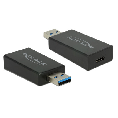 DeLOCK Adapter SuperSpeed USB 10 Gbps (USB 3.1 Gen 2) Type-A Male > USB Type-C Female, Black Kabel adapter - Zwart