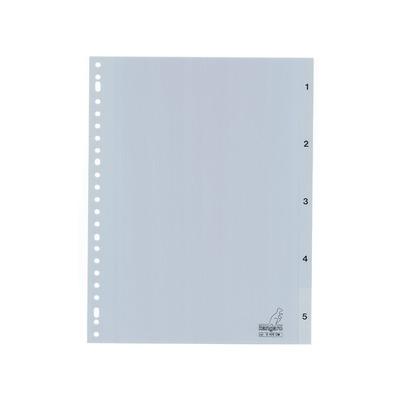 Kangaro Tabblad A4 cijfers PP 120mµ grijs 23r 5dlg Indextab