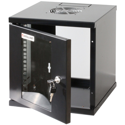 """Intellinet 10"""" Wallmount Cabinet, 6U, 320 (h) x 300 (w) x 300 (d) mm, Max 60kg, Assembled, Black Rack - Zwart"""