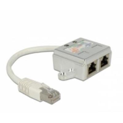 DeLOCK RJ45 Port Doubler 1 x RJ45 plug > 2 x RJ45 jack (2 x ISDN) Netwerkkabel - Wit