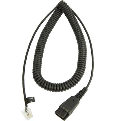 Jabra Quick Disconnect QD to Modular RJ Coiled Bottom Cord, 2 Meter Koptelefoon accessoire - Zwart