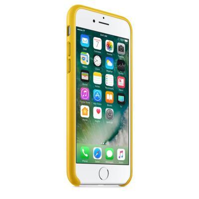 Apple mobile phone case: Leren hoesje voor iPhone 7 - Zonnebloemgeel