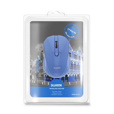 Sweex Draadloze Muis Bureaumodel 3 Knoppen Grijs, 1000dpi Computermuis - Blauw