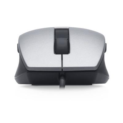 Dell computermuis: Zilverkleurige en zwarte USB-lasermuis met schuifwiel en zes knoppen - Zwart, Zilver
