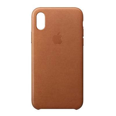 Apple mobile phone case: Leren hoesje voor iPhone X - Zadelbruin