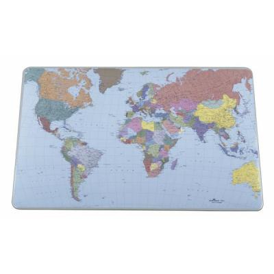 Durable bureaulegger: Desk Mat with World Map - Transparant